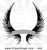 Illustration Vector of a Pair of Gothic Angel Wings with a Banner over a Silver Rays by Arena Creative