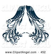 Illustration Vector of a Pair of Ornate Dark Blue Angel Wings by Cherie Reve