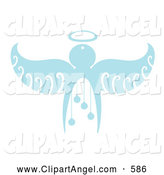 Illustration Vector of a Pale Blue Christmas Angel with Baubles by Cherie Reve