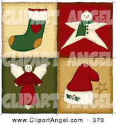 Illustration Vector of a Panel of Four Christmas Folk Quilt Squares by Inkgraphics