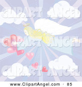 Illustration Vector of a Pastel Angel Flying in a Cloudy Sky with Red Hearts by Inkgraphics