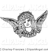 Illustration Vector of a Pen and Ink Drawing of a Pretty Female Angel Face with Curly Hair and a Floral Wreath on Her Head by C Charley-Franzwa