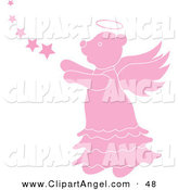 Illustration Vector of a Pink Angel Bear with Stars Looking Left by Pams Clipart