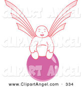 Illustration Vector of a Pink Asian Angel on a Pink Orb by Cherie Reve