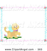Illustration Vector of a Prancing Brown Angel Cat with Text Space, Bordered with Ribbons and Flowers by
