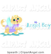 Illustration Vector of a Prancing Brown Angel Cat with Wings, a Halo and Angel Boy Text by Bpearth