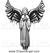 Illustration Vector of a Praying Female Angel by Xunantunich