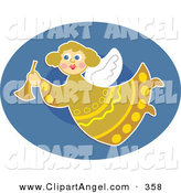 Illustration Vector of a Pretty Angel in Yellow, Flying over a Two Tone Blue Oval by Prawny