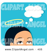 October 5th, 2012: Illustration Vector of a Pretty Angelic Woman Thinking Good Thoughts by Monica