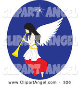 Illustration Vector of a Pretty White Christmas Angel with a Horn, Under the North Star by Rosie Piter