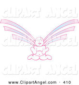 Illustration Vector of a Purple and Pink Asian Angel Facing Forward by Cherie Reve