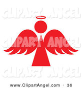 Illustration Vector of a Red Angel Silhouette with a Halo on a White Background by Pams Clipart