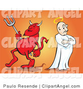 Illustration Vector of a Red Devil Carrying a Pitchfork and Standing Back to Back with an Angel with a Halo, Representing Conscience by Paulo Resende
