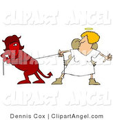Illustration Vector of a Red Evil Devil Female in a Fight of Tug of War with a Good Angel Woman by Djart