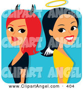 Illustration Vector of a Red Haired She Devil Standing Back to Back with a Smiling Angelic Woman on White by Monica