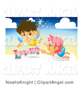 Illustration Vector of a Romantic Male and Female Angel with a Magic Wand, Flying in the Sky by NoahsKnight