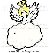 Illustration Vector of a Scared Blond White Angel in the Clouds by Lineartestpilot