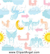 Illustration Vector of a Seamless Angel Moon Cloud and Arrow Background by Cherie Reve