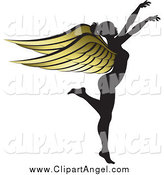 Illustration Vector of a Silhouetted Angel Woman with Golden Wings by Lal Perera