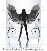 Illustration Vector of a Silhouetted Female Angel Standing with Her Hands on Her Hips and Wings Spanned Between Two Vines on a Reflective Surface by Elaineitalia