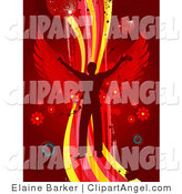 Illustration Vector of a Silhouetted Man with Red Wings, Dancing on a Wave of Yellow, Pink and Red on a Red Background with Splatters, Speakers, Flowers and Disco Balls or Orbs by Elaineitalia