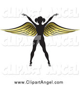 Illustration Vector of a Silhouetted Woman with Gold Wings by Lal Perera