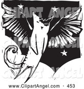 Illustration Vector of a Sketched Flying Winged Angel Cat in Black and White Woodcut Style by Xunantunich