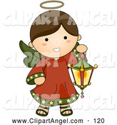 Illustration Vector of a Smiling Cute Brunette Christmas Angel Carrying a Lantern by BNP Design Studio