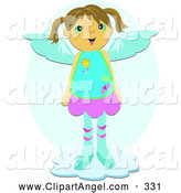 Illustration Vector of a Smiling Happy Angel Girl Standing on a Cloud by