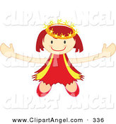Illustration Vector of a Smiling Happy Crowned Angel Holding Her Arms out by Cherie Reve