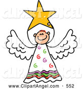Illustration Vector of a Smiling Peaceful Angel with a Star by Prawny