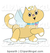 Illustration Vector of a Smiling Winged Angel Cat with a Golden Halo and Heart Collar, Prancing by by