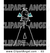 Illustration Vector of a Stick Figure People Angel Standing on Top of the Letter a over Black by NL Shop