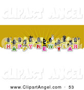 Illustration Vector of a Stick Figure People Crowd on the Words Happy New Year over White and Yellow by NL Shop