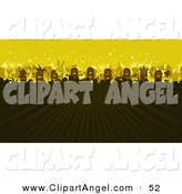 Illustration Vector of a Stick Figure People Party Concert Crowd with Rays of Light on Yellow by NL Shop