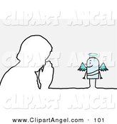 Illustration Vector of a Stick Person Angel Character Watching a Man in Prayer by NL Shop