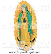 Illustration Vector of a Strong Angel Under the Virgin of Guadalupe by David Rey