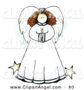 Illustration Vector of a Sweet Angel Holding a Candle, with Stars by Her Skirt by Inkgraphics