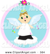 Illustration Vector of a Sweet Caucasian Angel Boy with a Halo, Standing on a Cloud by