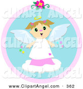 Illustration Vector of a Sweet Happy Angel Girl with a Halo, Standing on a Cloud by