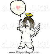 Illustration Vector of a Talking Angel with a Heart Conversation Bubble by Lineartestpilot