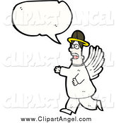 Illustration Vector of a Talking Worried Male Angel by Lineartestpilot