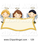 Illustration Vector of a Trio of Cute Angel Girls Holding a Blank Banner by BNP Design Studio