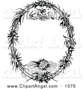 Illustration Vector of a Vintage Black and White Angel and Lyre Oval Frame by Prawny Vintage