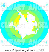 Illustration Vector of a White Christmas Angel over a Green and Blue Circle by Prawny
