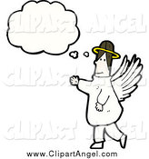 Illustration Vector of a White Male Angel with a Conversation Bubble by Lineartestpilot