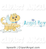 Illustration Vector of a Winged Brown Angel Cat with a Halo Prancing Around with Blue Angel Boy Text by Bpearth