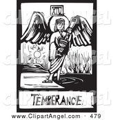 Illustration Vector of a Woodcut Black and White Temperance Angel Tarot Card by Xunantunich