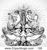 Illustration Vector of ABlack and White Victorian Female Angel and Maiden Fountain by BestVector