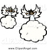Illustration Vector of African American Angels Floating on Clouds by Lineartestpilot